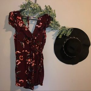 ADORABLE MAROON FLORAL ROMPER